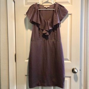 Ann Taylor Loft Mauve Ruffle Neckline Dress